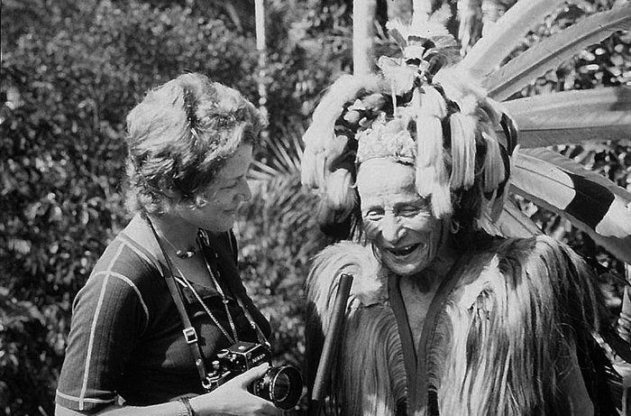 With the Iban chieftain of a longhouse, Sarawak, Borneo, 1971.